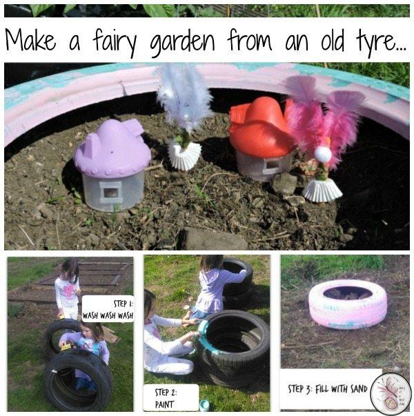 Used Tyre Fairy Gardens