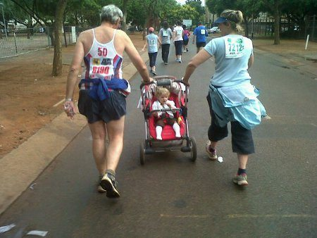 On a 10km road race with Nana and Oupa