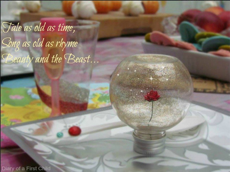 Beauty and the beast rose table decorations thank you for Beauty and beast table decorations